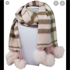 Burberry cashmere scarf with pink fox fur Pom poms